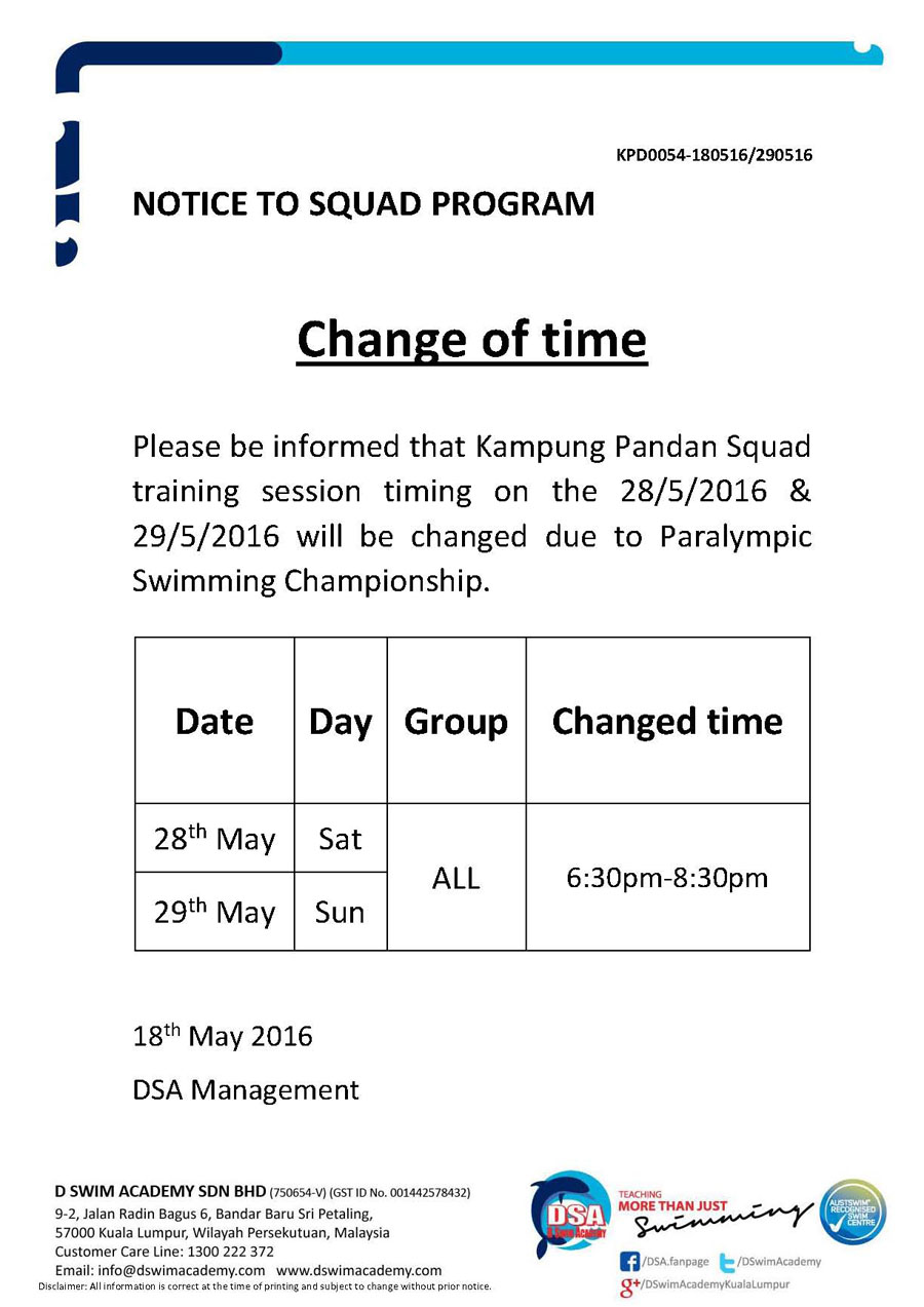 Squad Program Change
