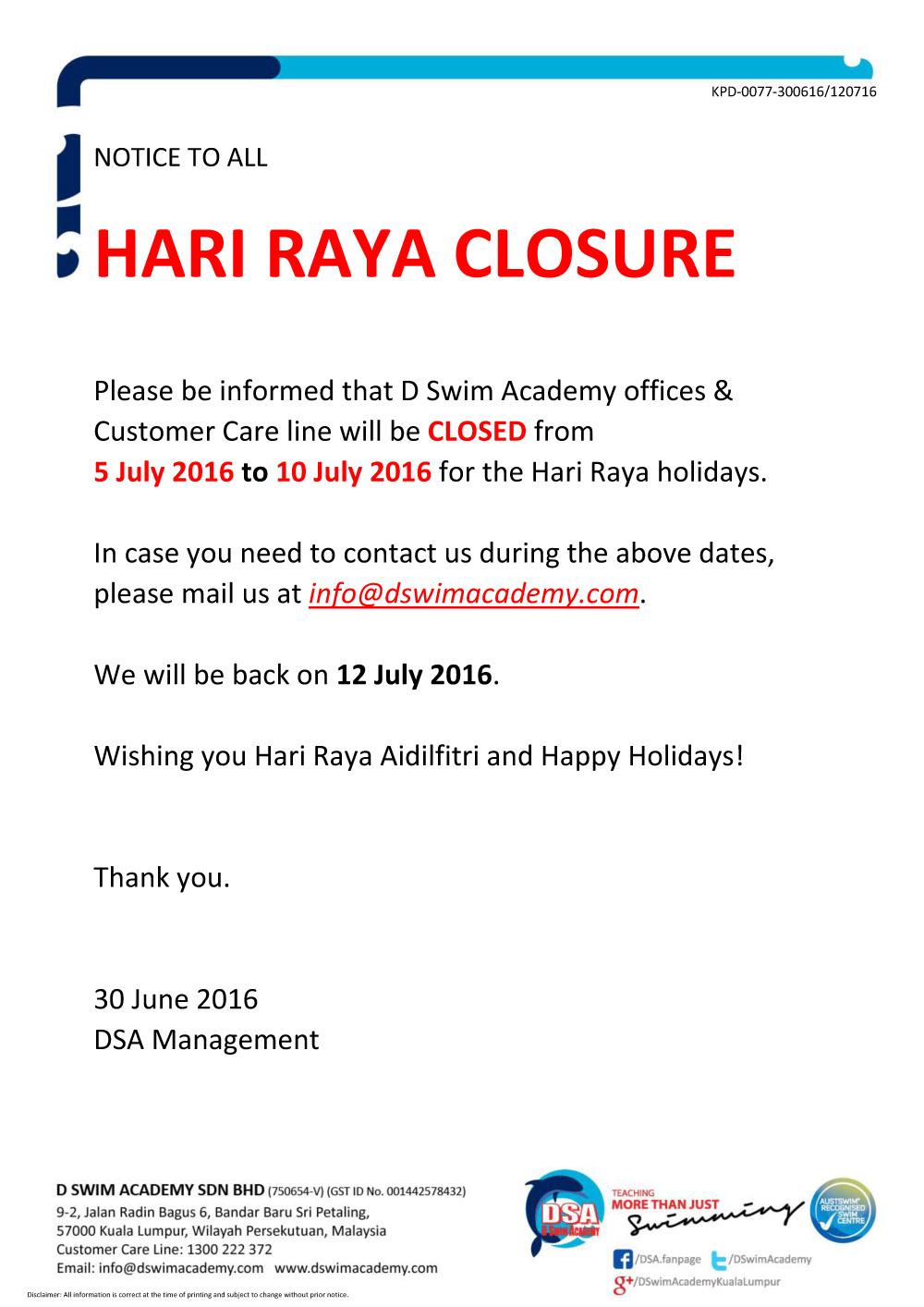 Hari Raya Closure
