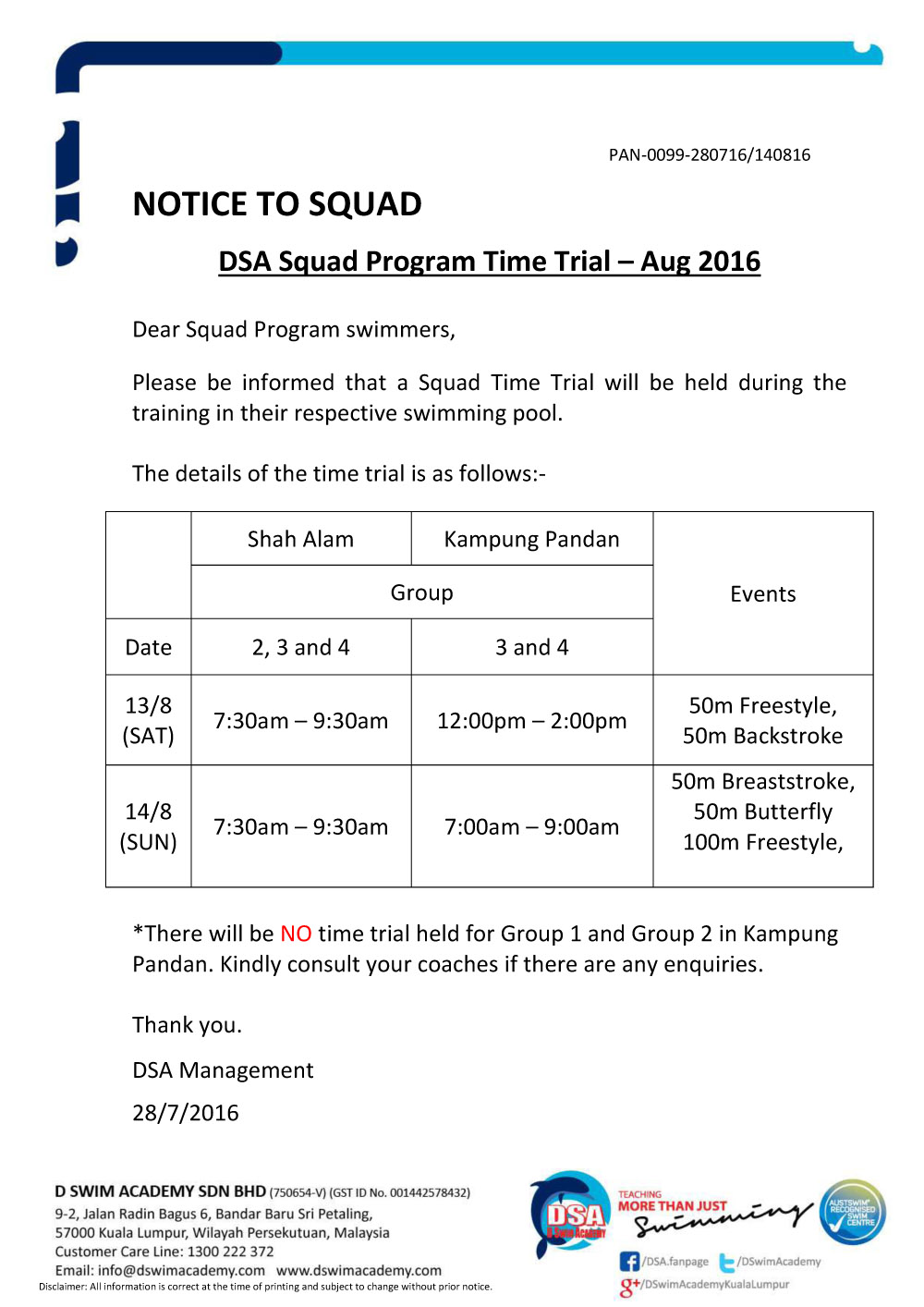 Notice - Squad Time Trial Aug 2016