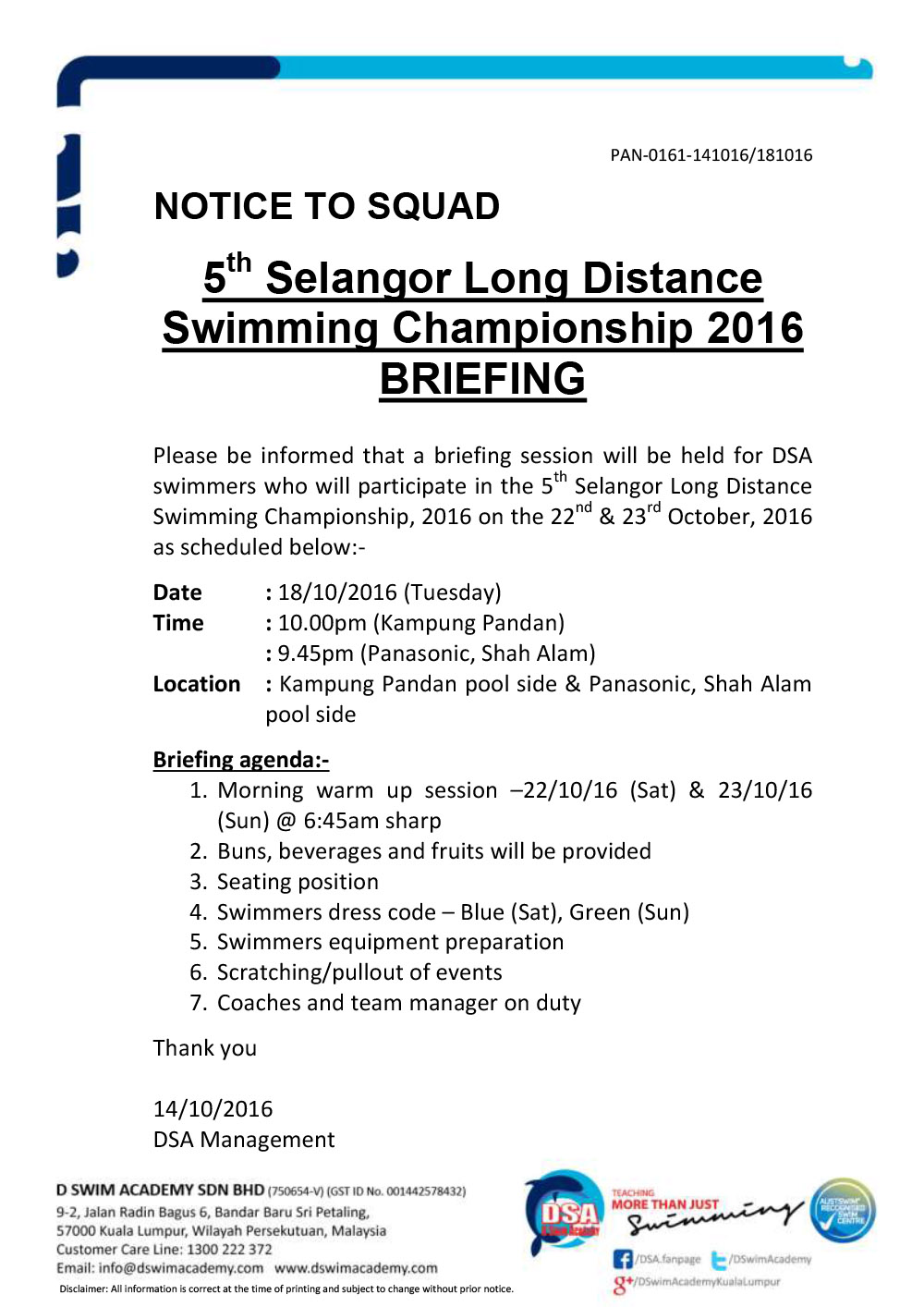 5th Selangor Long Distance - Team Briefing