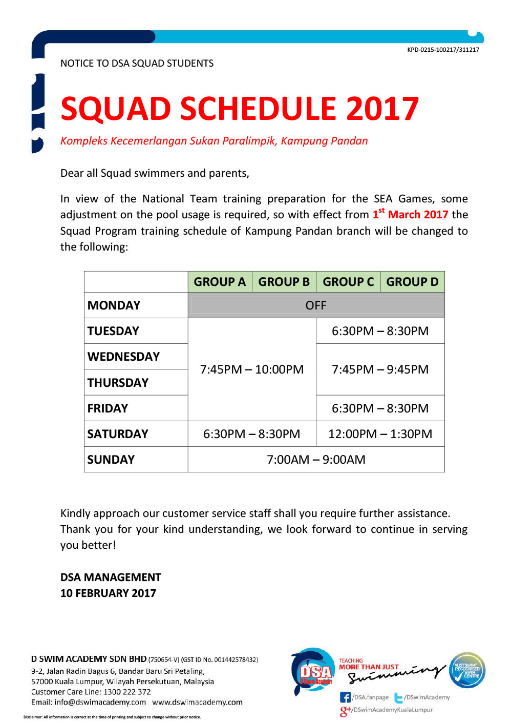 KPD-0215-March Training Schedule