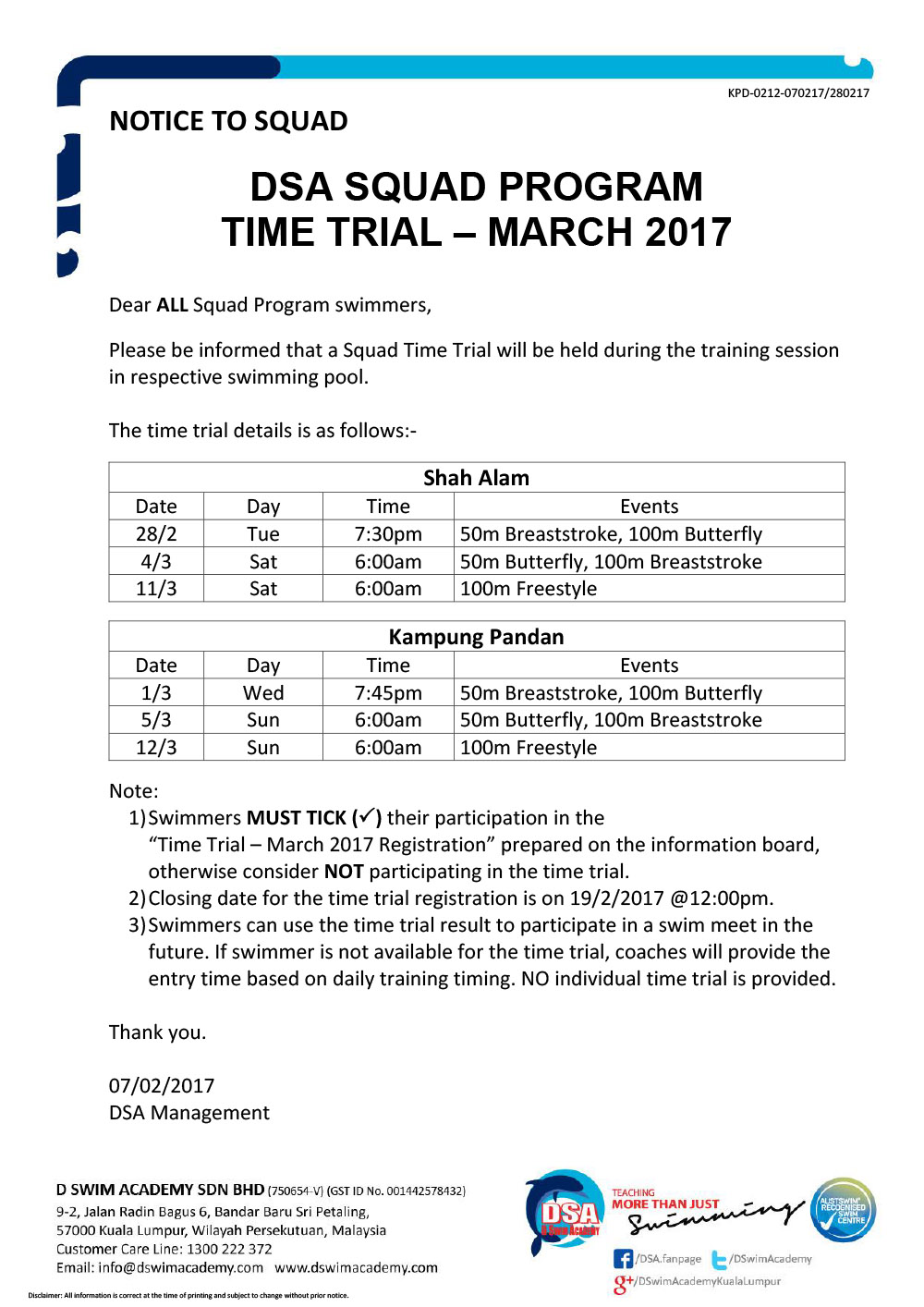 Squad Program Time Trial March 2017 - Notice