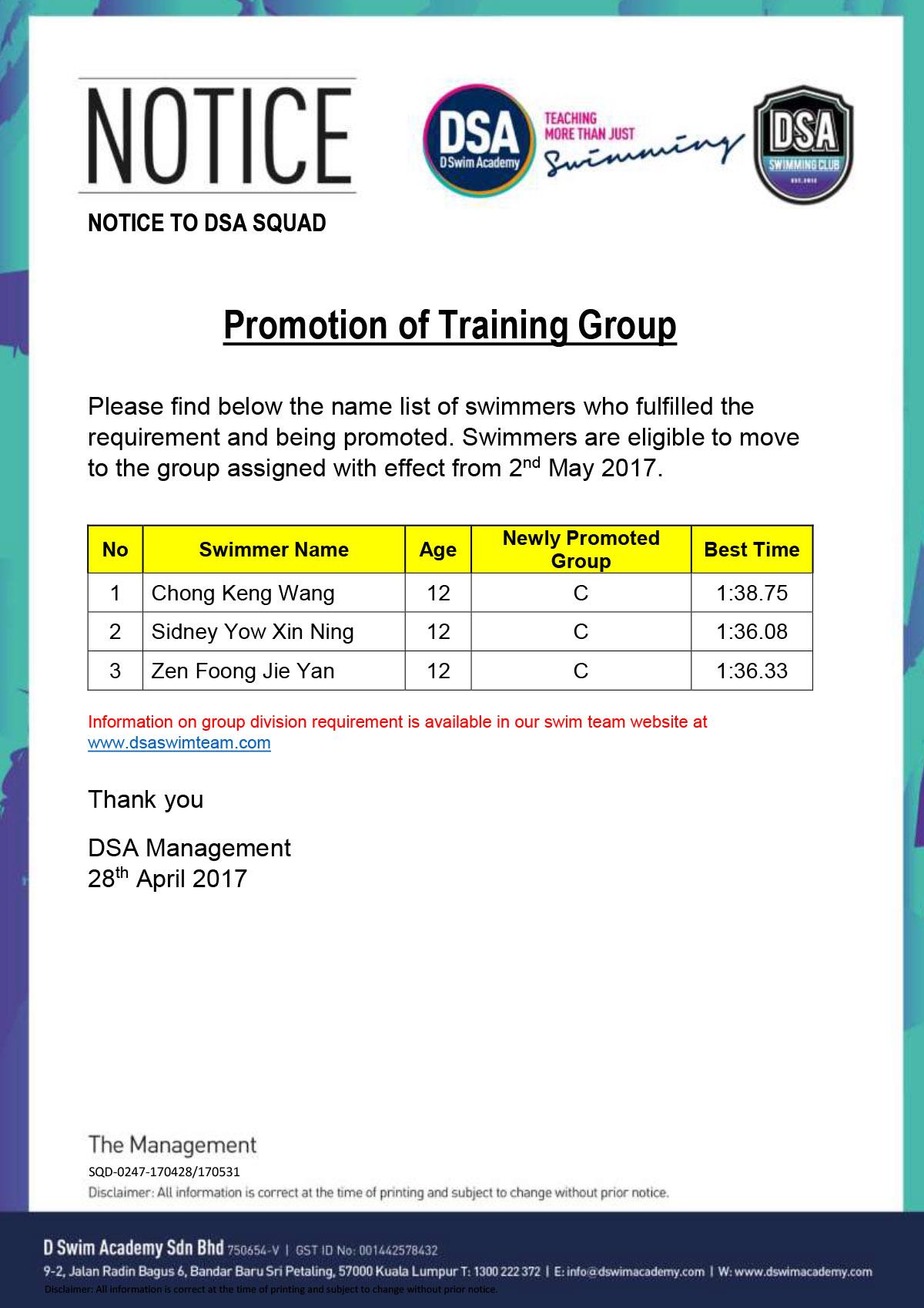 Promotion of Training Groups