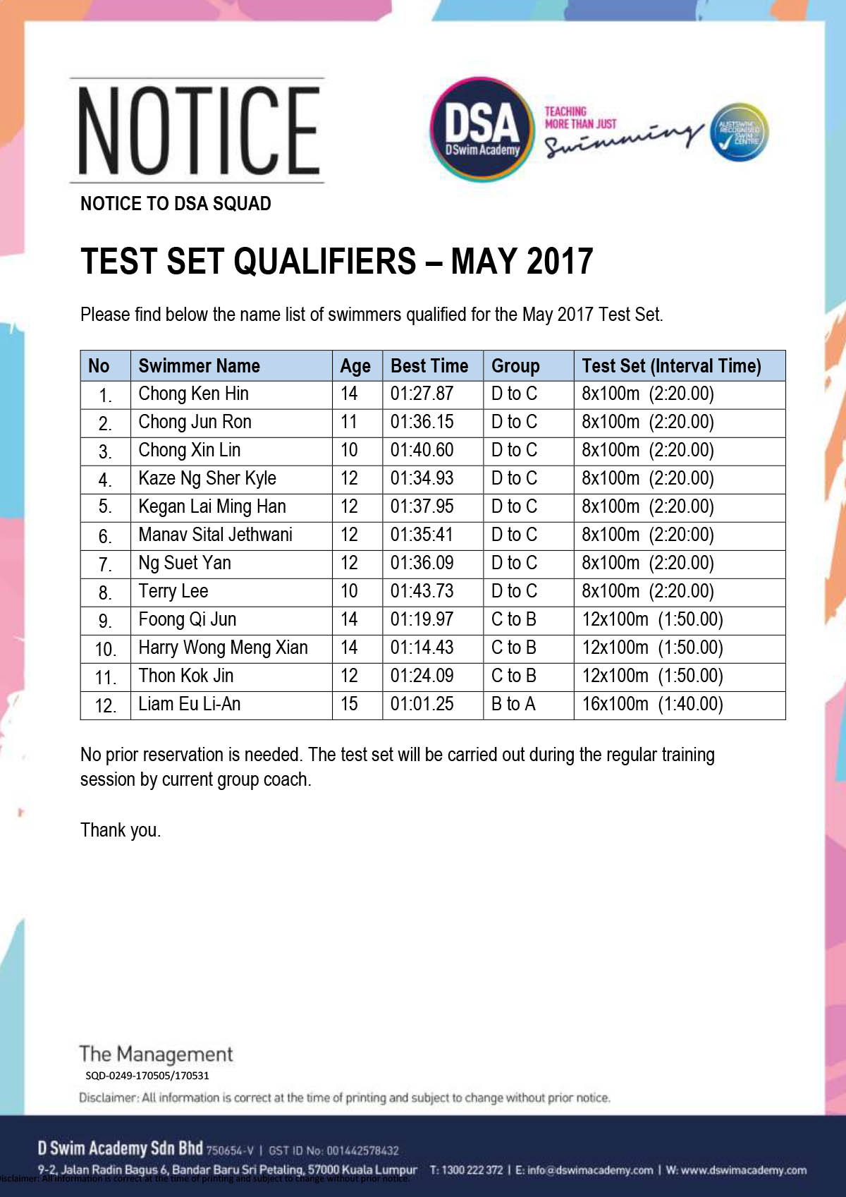 DSA Swim Team Test Set Qualifiers