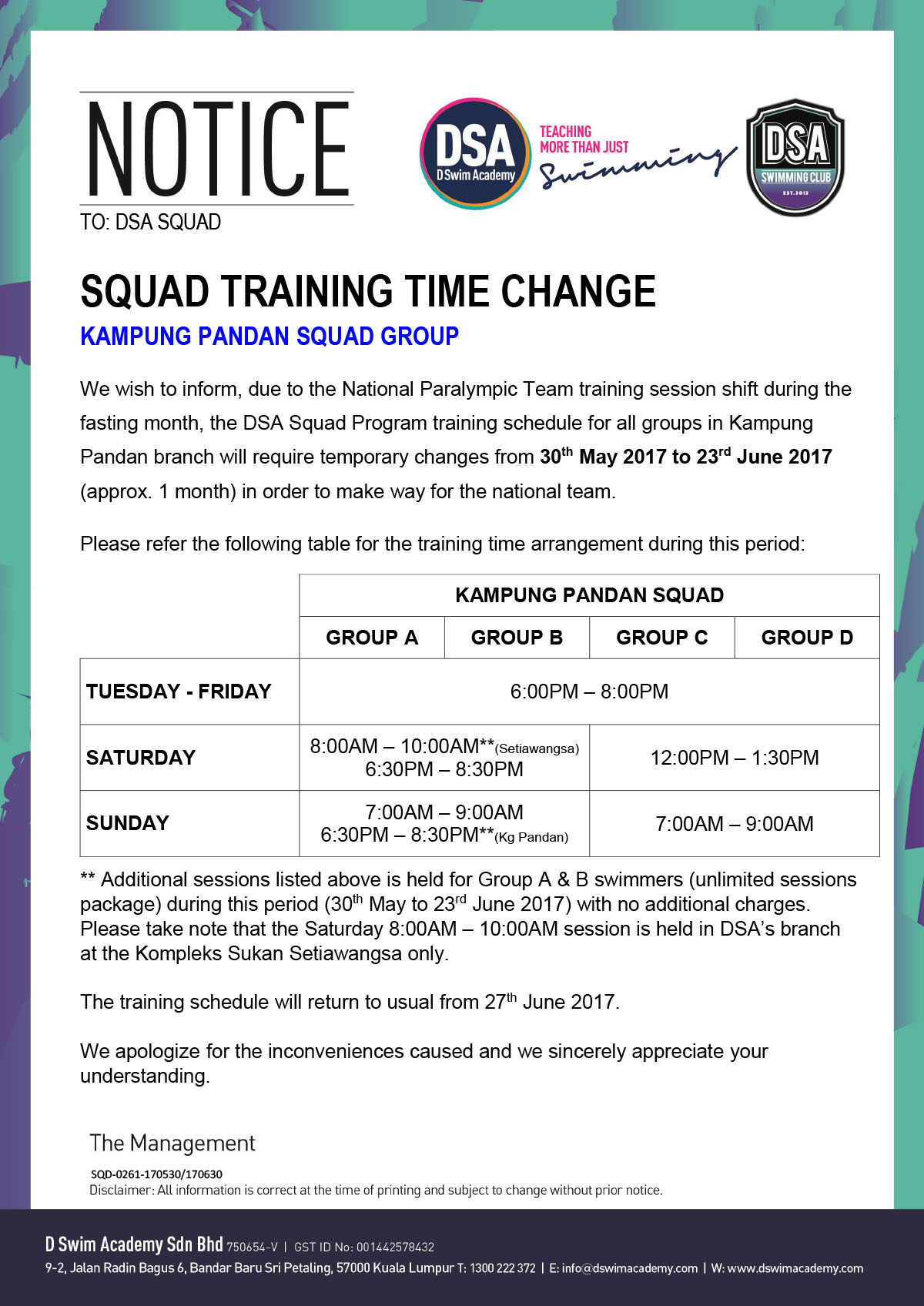 KP Squad Schedule - Fasting Month