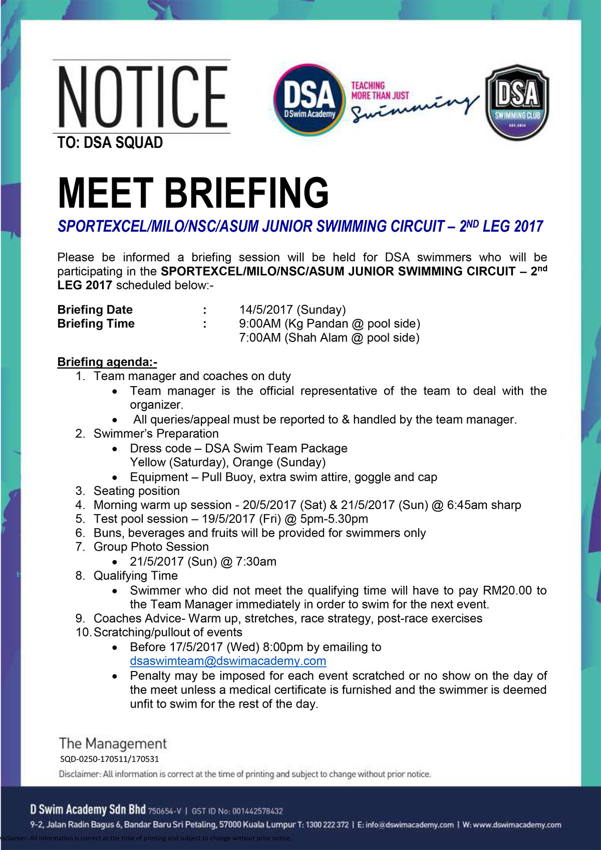 Team Briefing Notice -Sportexcel 2nd Leg 2017