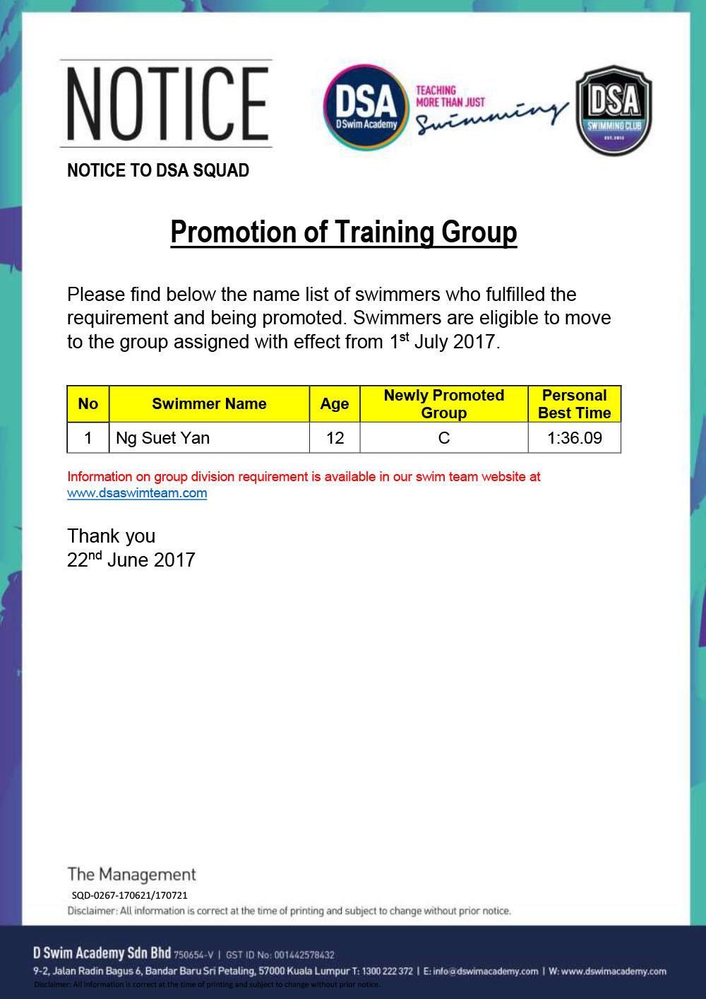 Promotion of Training Groups-Jul17
