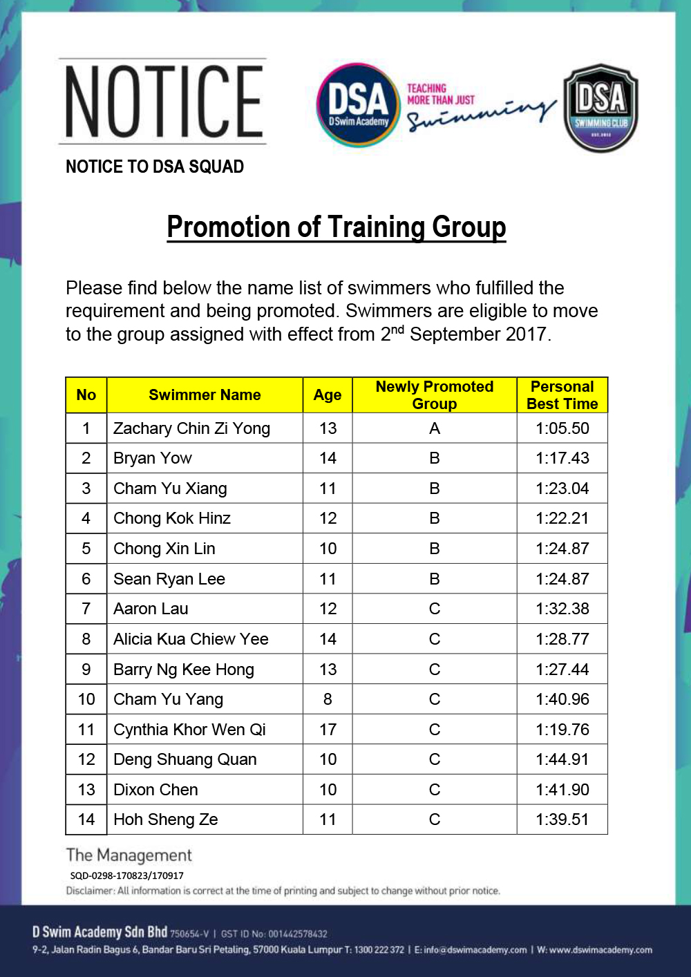 Promotion of Training Groups
