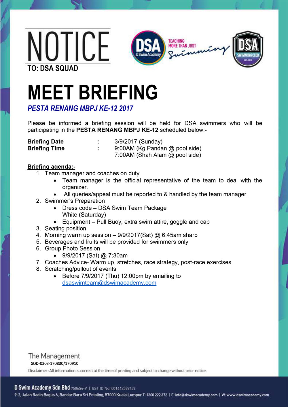 Team Briefing Notice -Pesta Renang MBPJ KE-12 2017