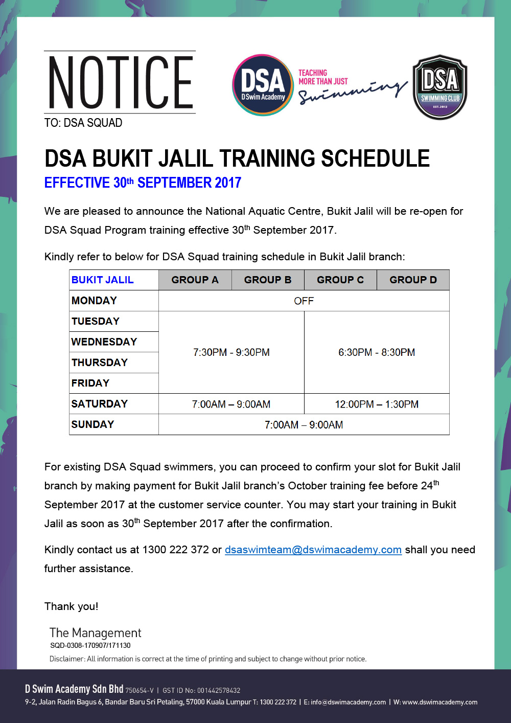 Bukit-Jalil-Training-Schedule