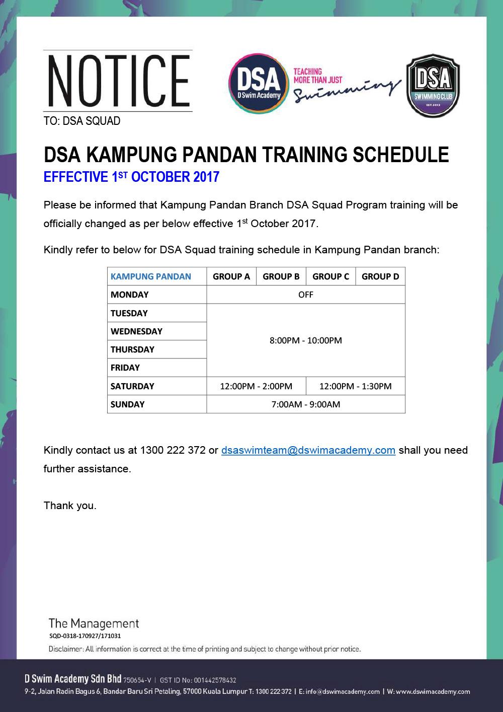 Kampung-Pandan-Training-Schedule