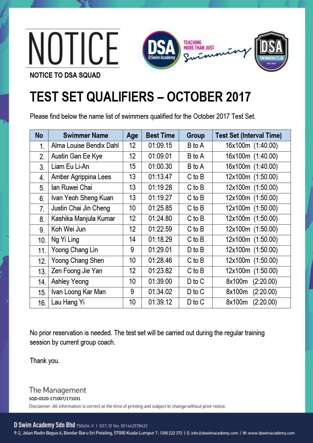 DSA Swim Team Test Set Qualifiers