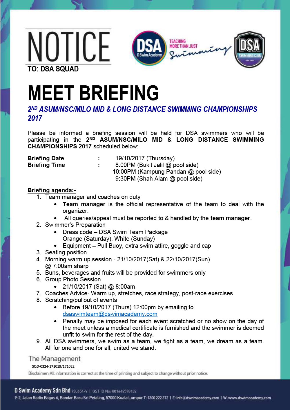 2ND ASUM/NSC/MILO MID & LONG DISTANCE SWIMMING CHAMPIONSHIPS 2017-Team Briefing