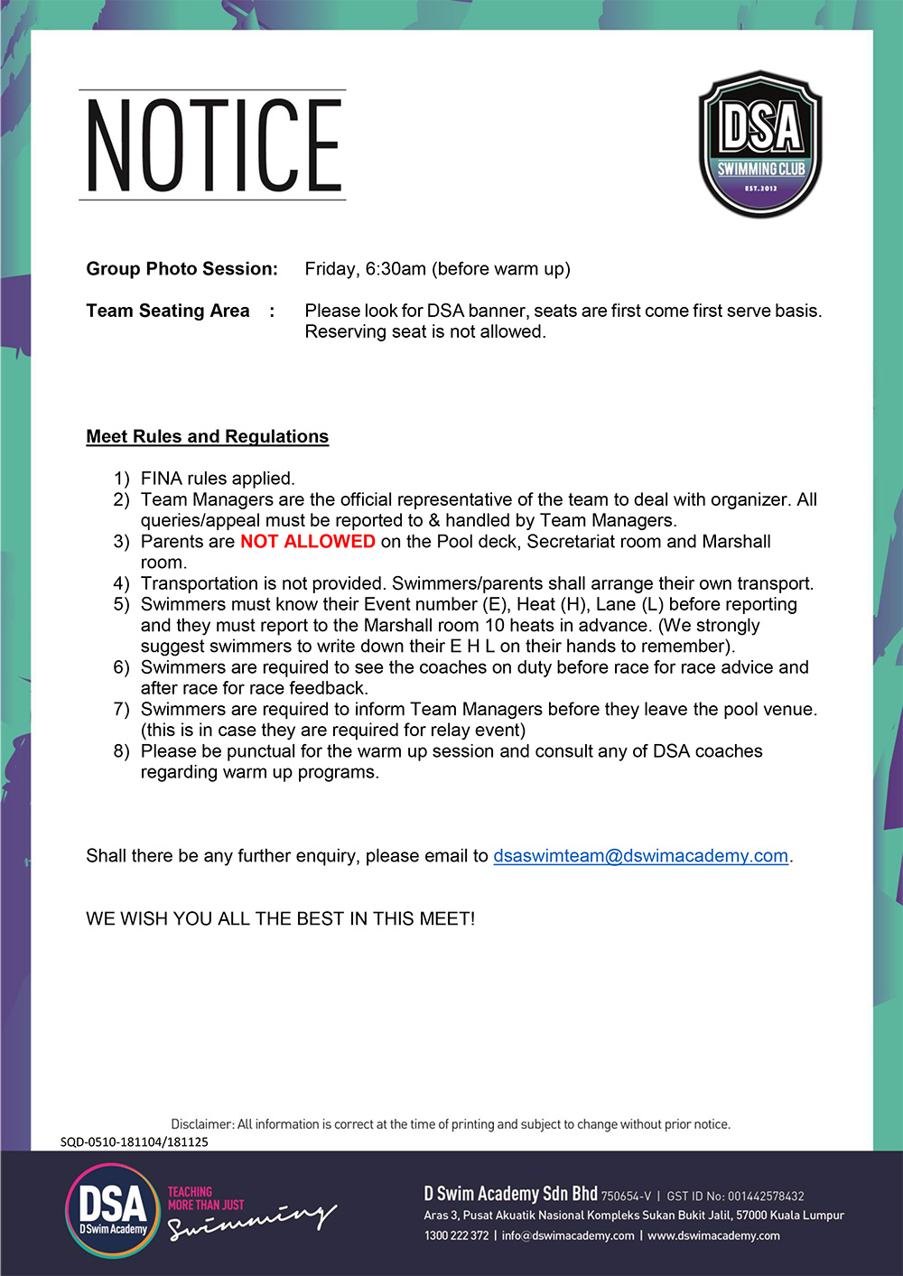 Team Briefing Notice-37th President Cup