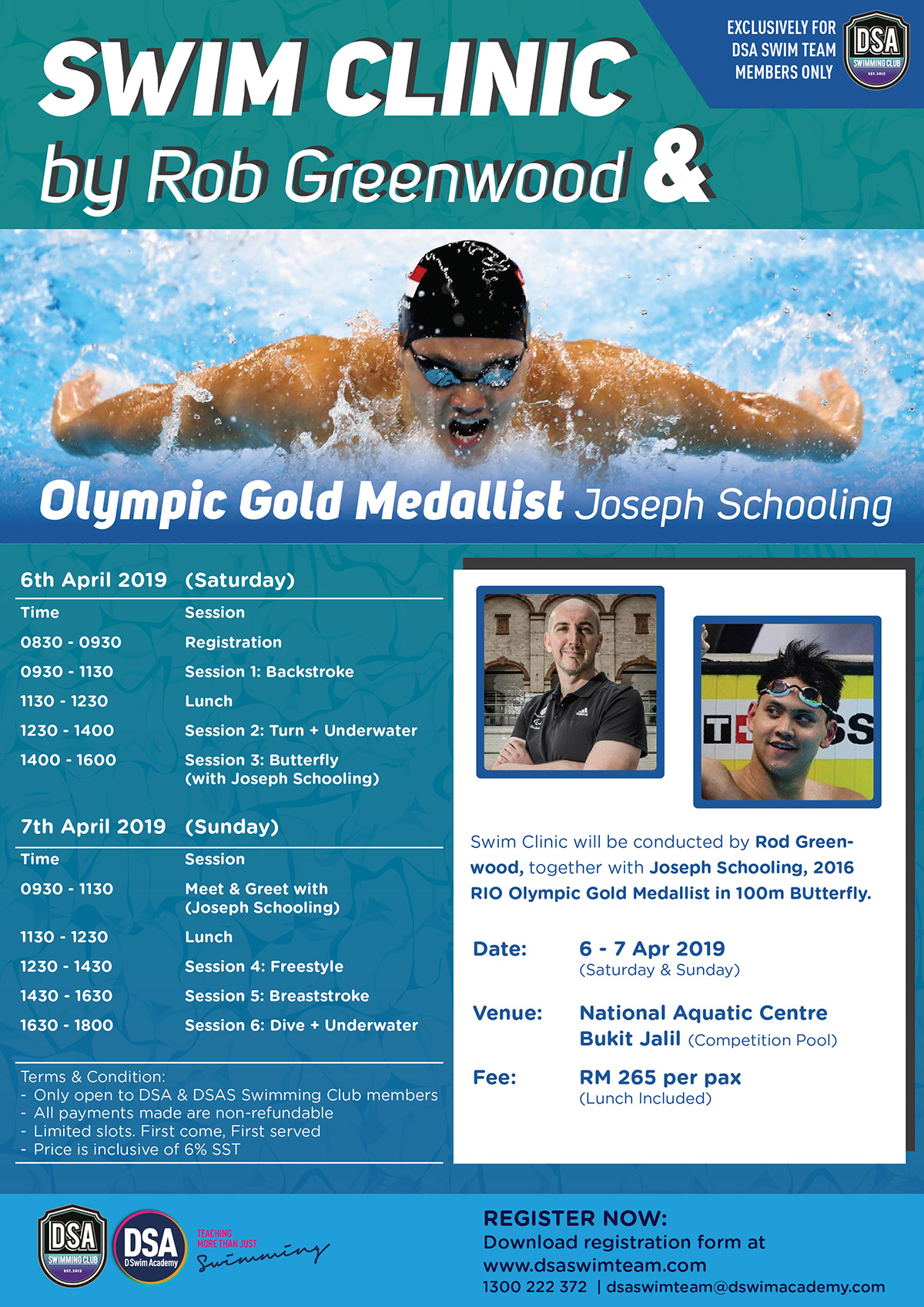 Swim Clinic by Rob Greenwood and Joseph Schooling 2019